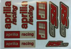 Aprilia RS125 DECALS STICKERS RED & WHITE, RS 125 Racing IP 9 piece